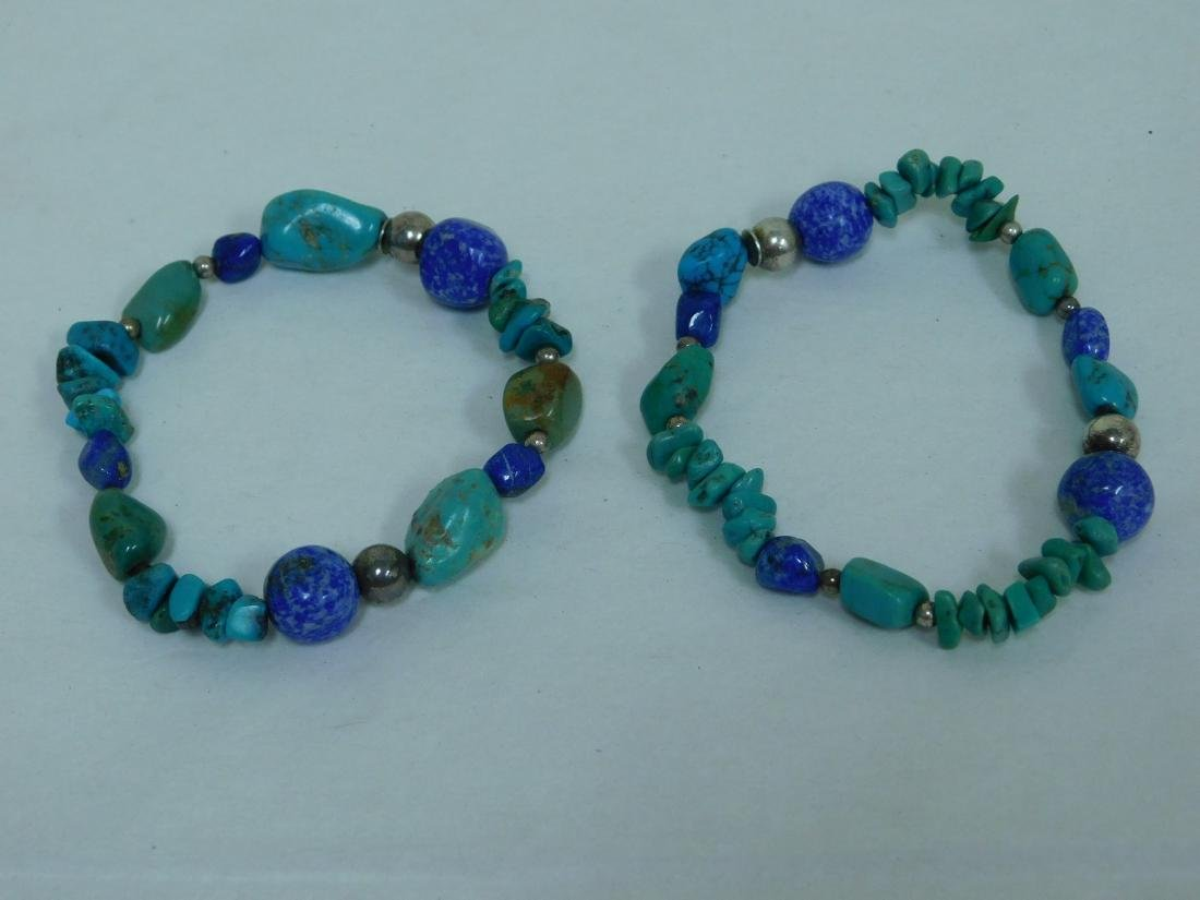 TURQUOISE NECKLACE WITH 2 MATCHING BRACELETS - 4