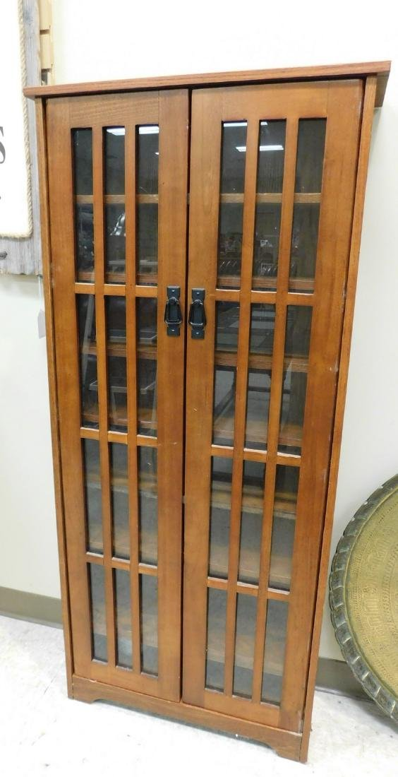 BROWN GLASS FRONT CABINET