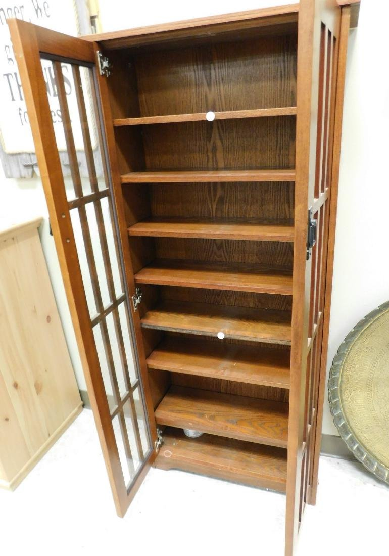 BROWN GLASS FRONT CABINET - 2