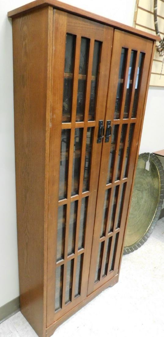 BROWN GLASS FRONT CABINET - 3