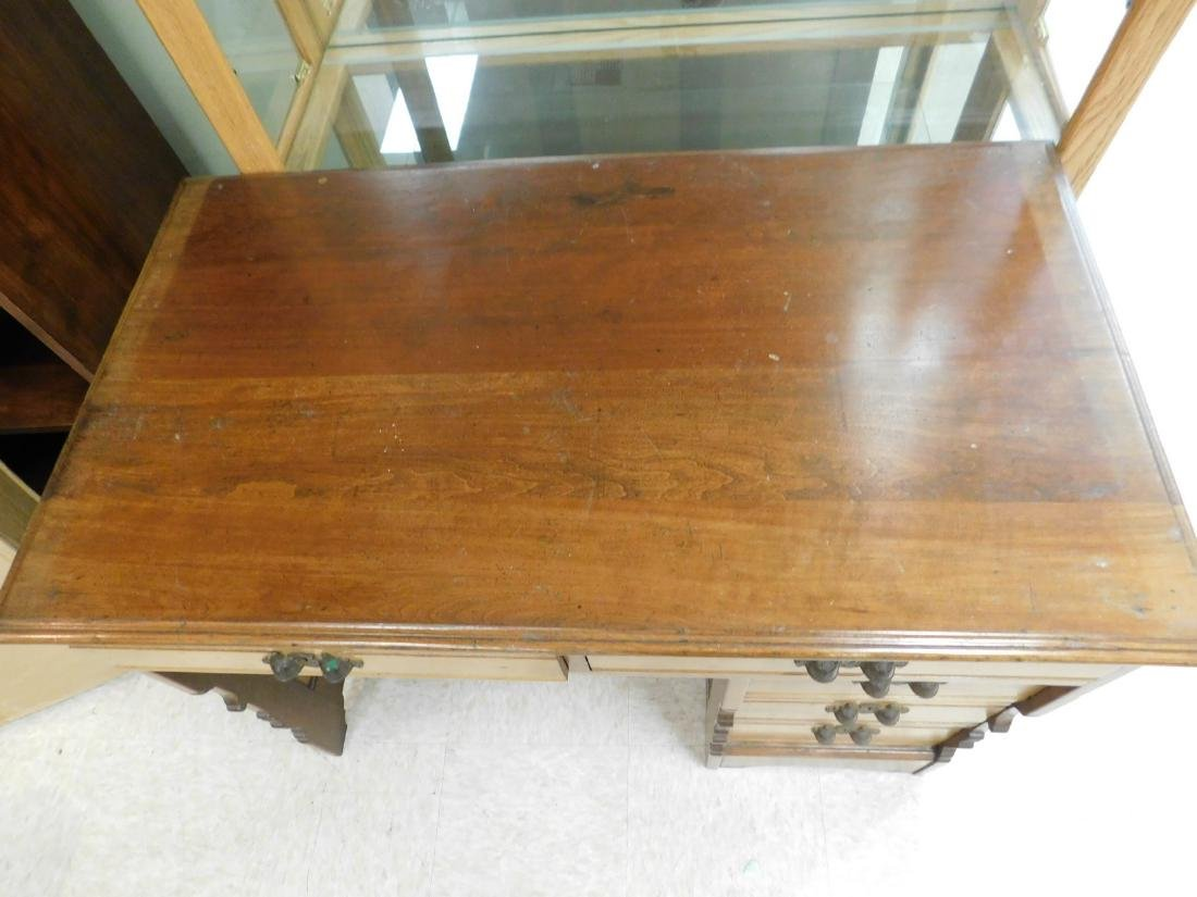 ANTIQUE KNEE HOLE DESK - 2