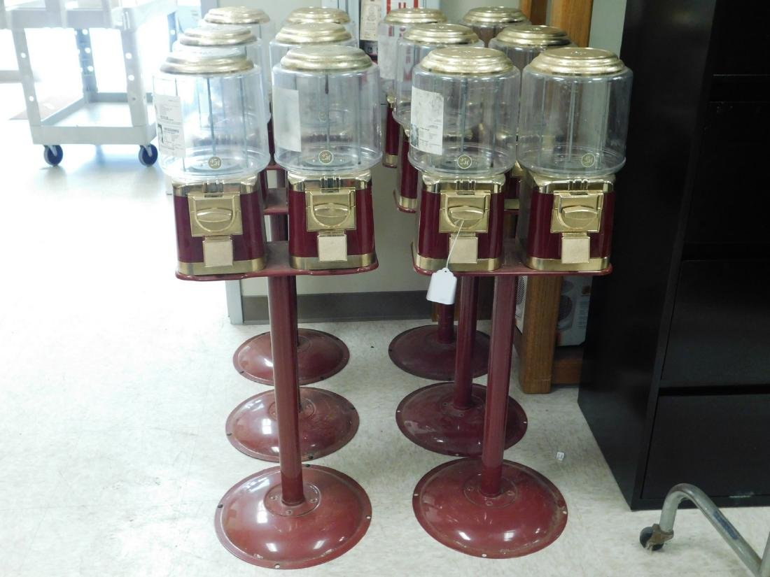 6 DOUBLE CANDY MACHINES ON STANDS