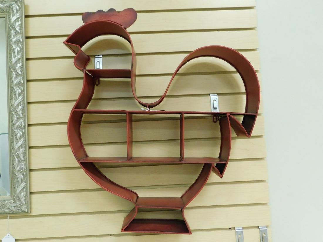 METAL ROOSTER SHAPED WALL SHELF