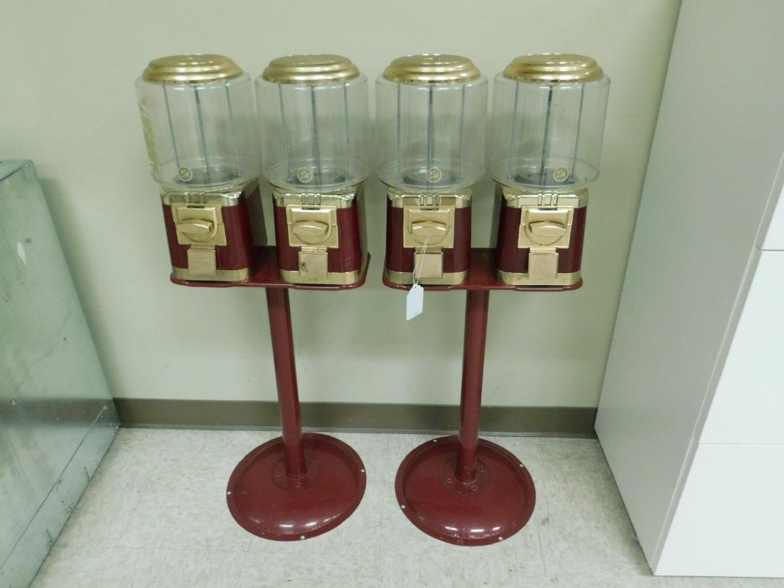 2 DOUBLE CANDY MACHINES ON STAND