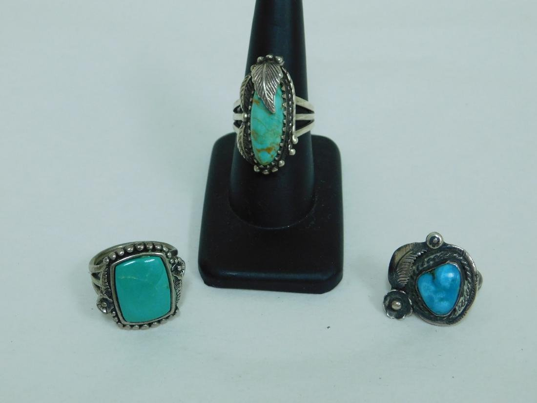 3 TURQUOISE WESTERN STYLE RINGS