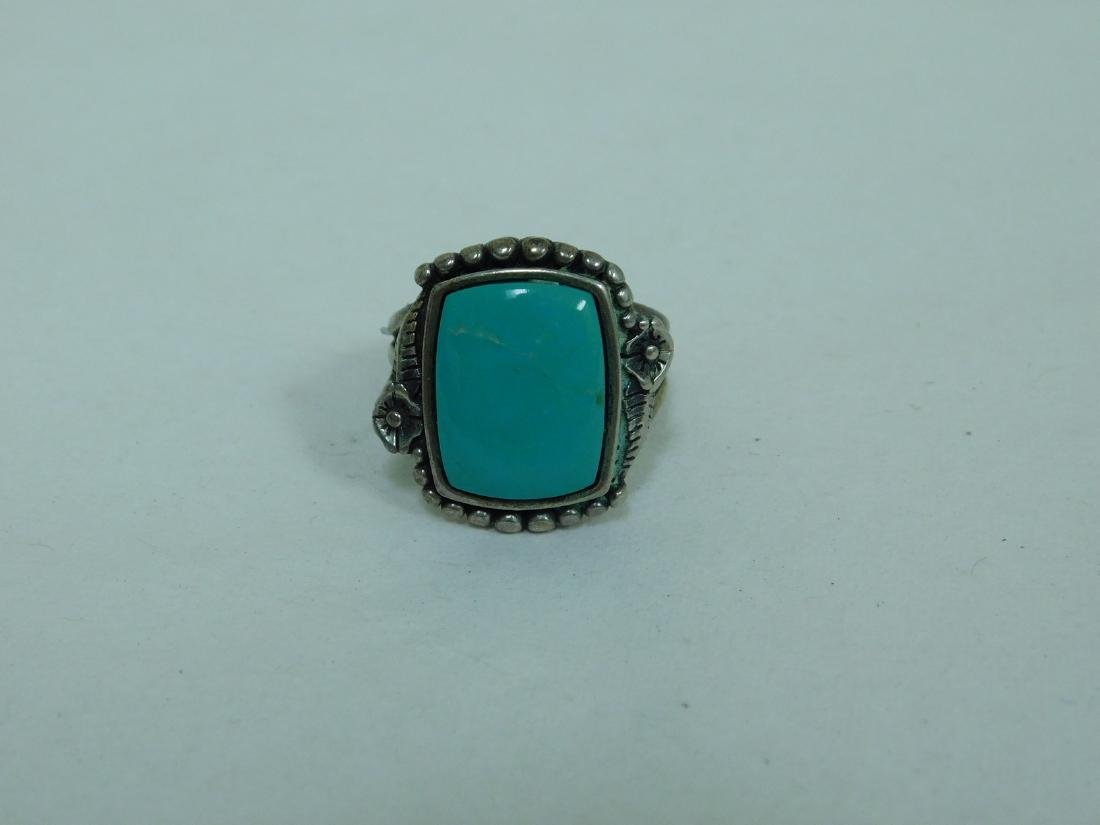 3 TURQUOISE WESTERN STYLE RINGS - 2