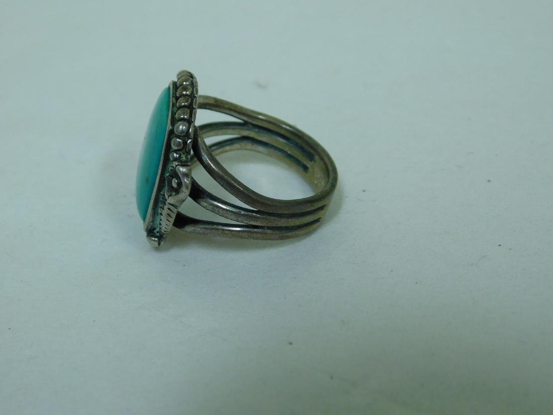 3 TURQUOISE WESTERN STYLE RINGS - 3