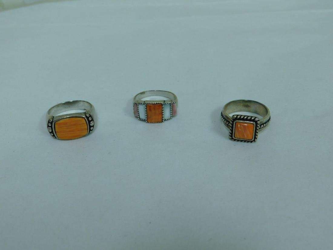 3 STERLING RINGS WITH ORANGE STONES