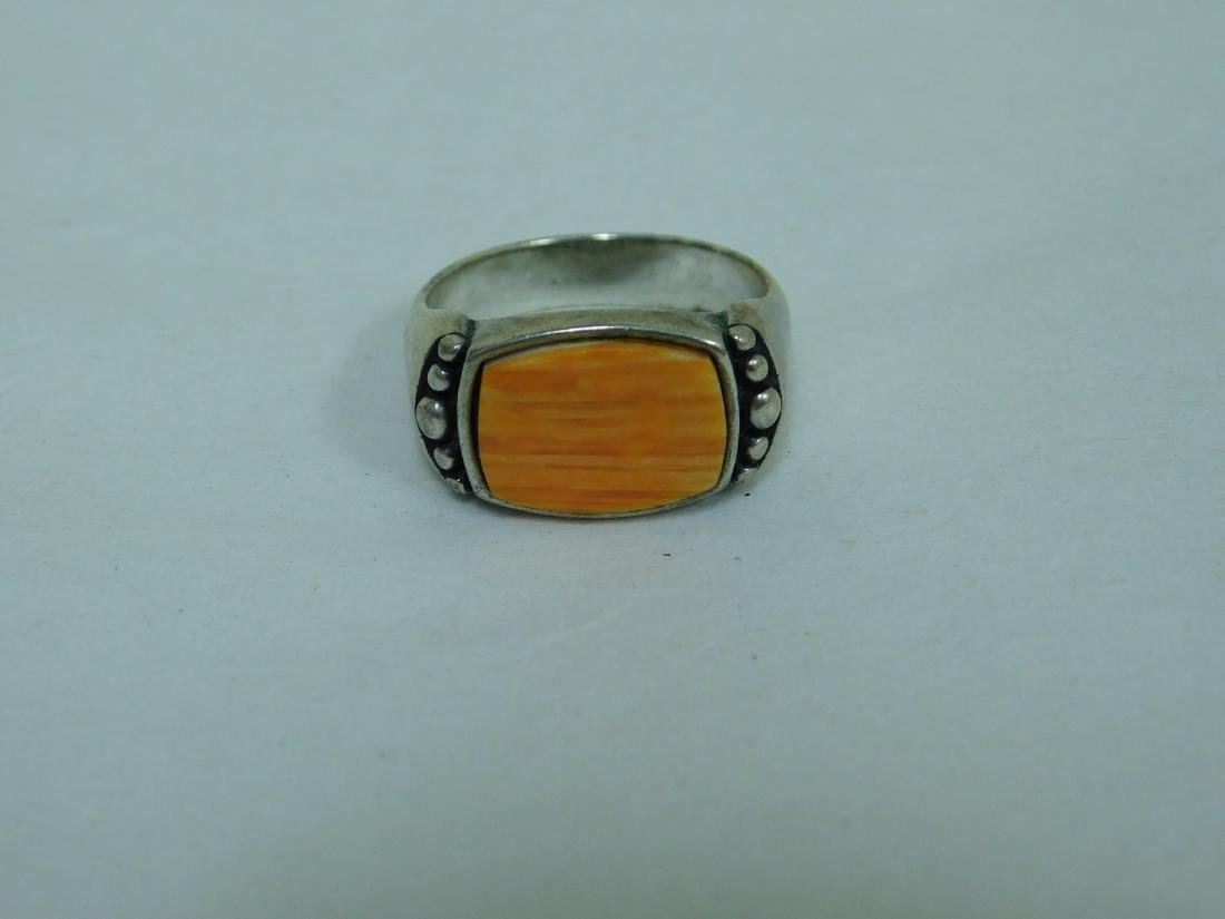 3 STERLING RINGS WITH ORANGE STONES - 2