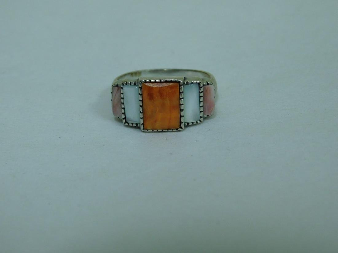 3 STERLING RINGS WITH ORANGE STONES - 4