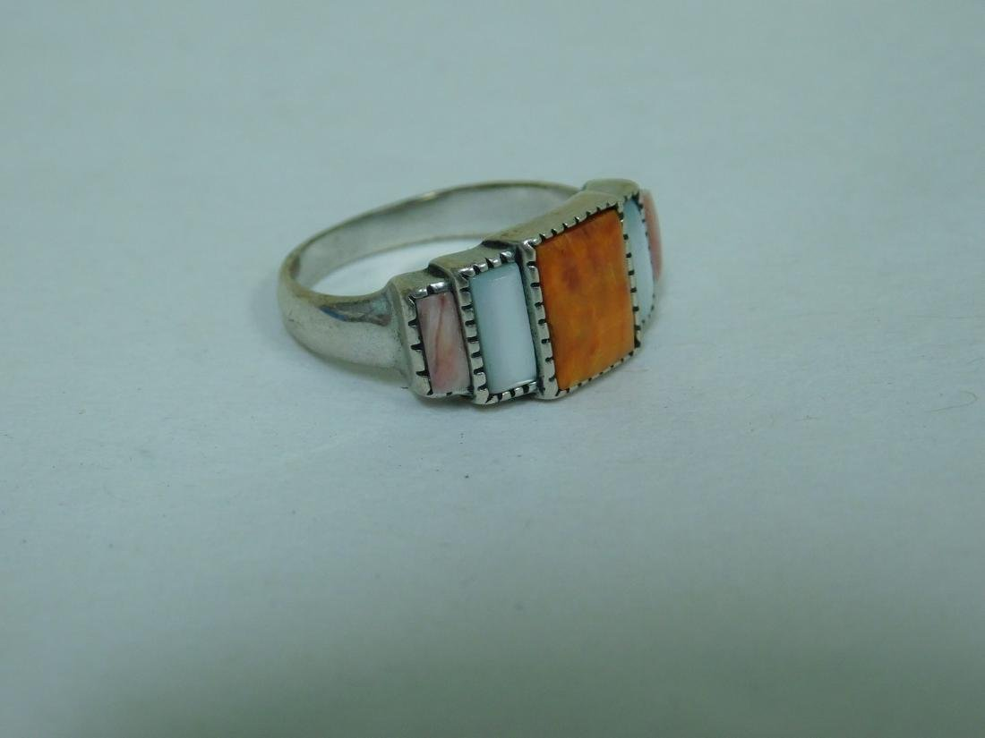 3 STERLING RINGS WITH ORANGE STONES - 6