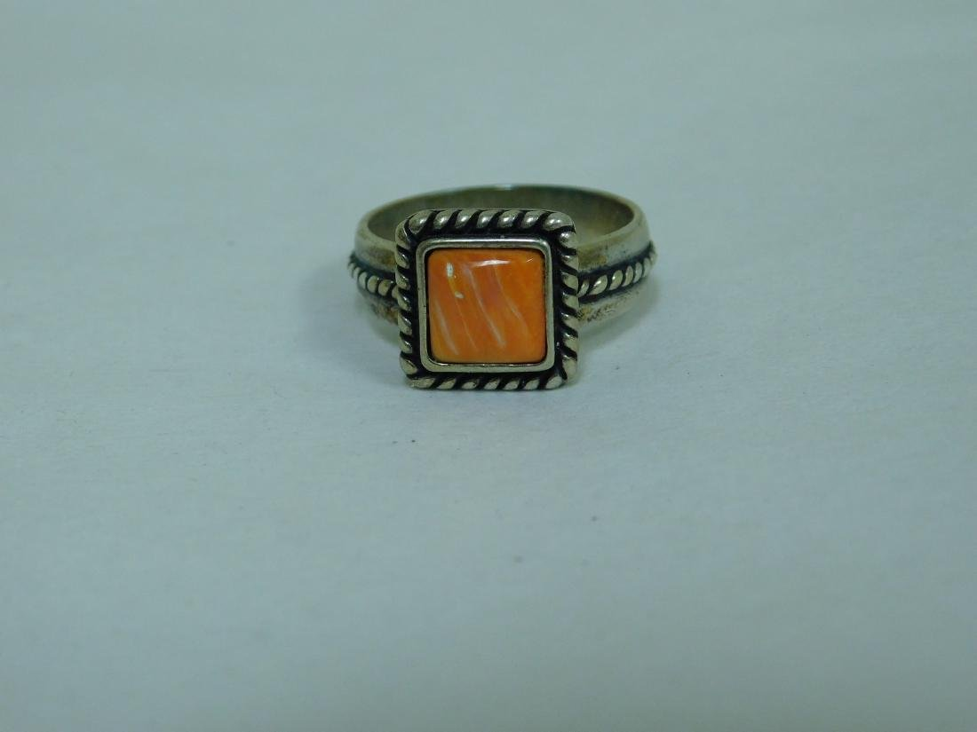 3 STERLING RINGS WITH ORANGE STONES - 7