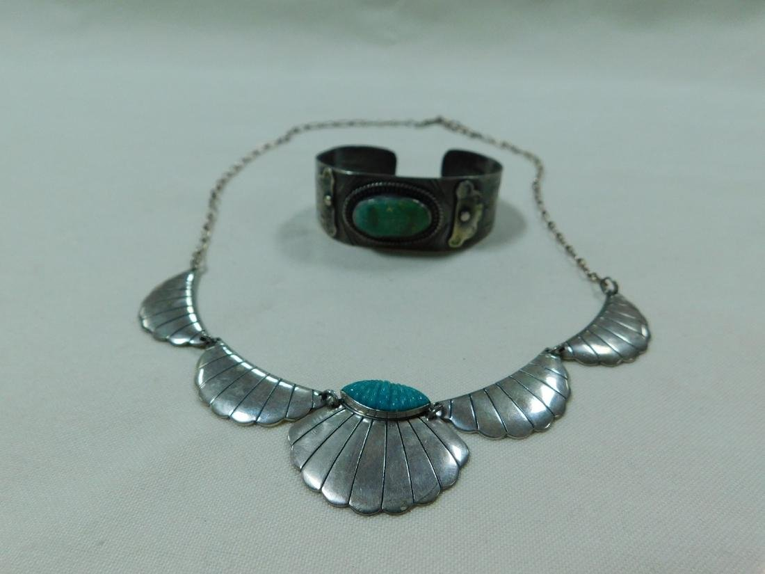 925 SILVER AND TURQUOISE NECKLACE AND CUFF BRACELE
