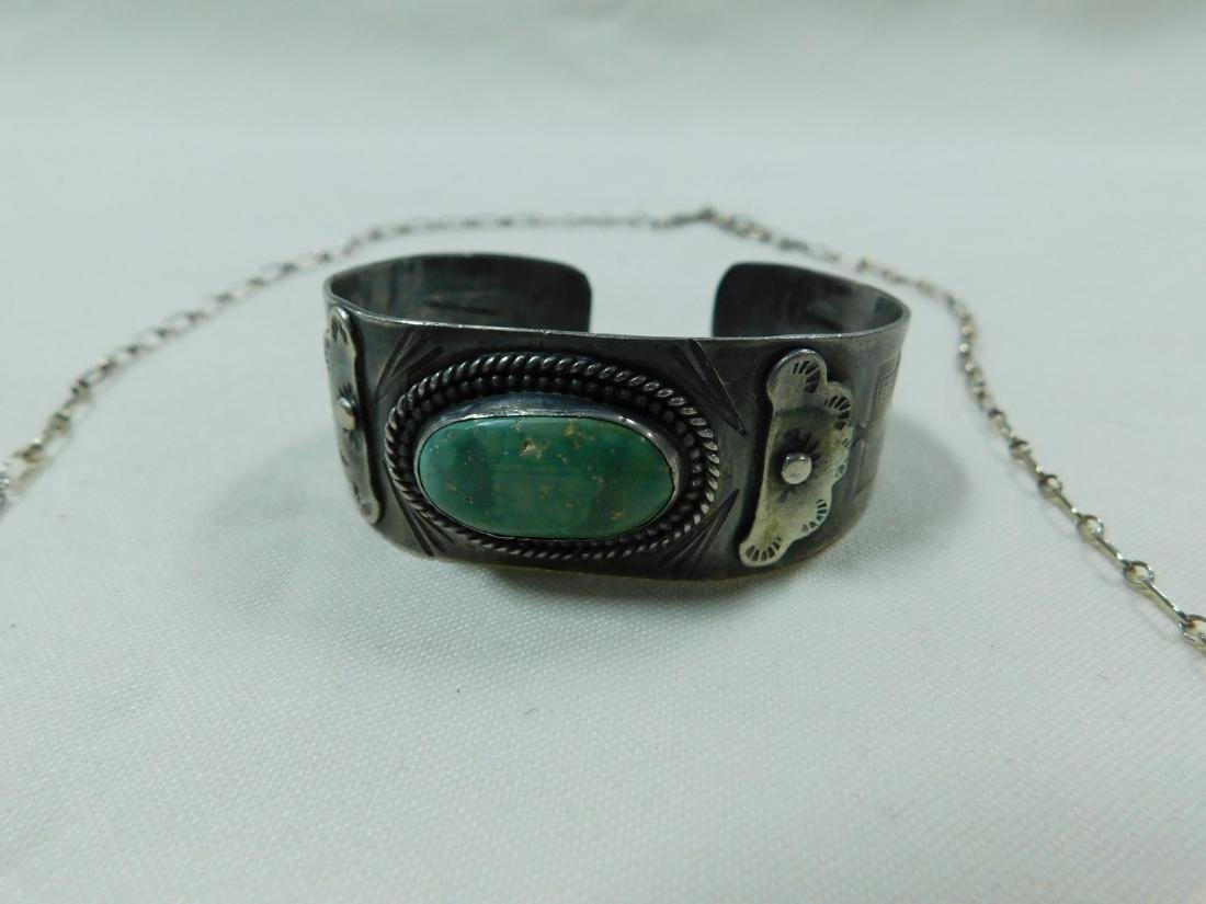 925 SILVER AND TURQUOISE NECKLACE AND CUFF BRACELE - 2
