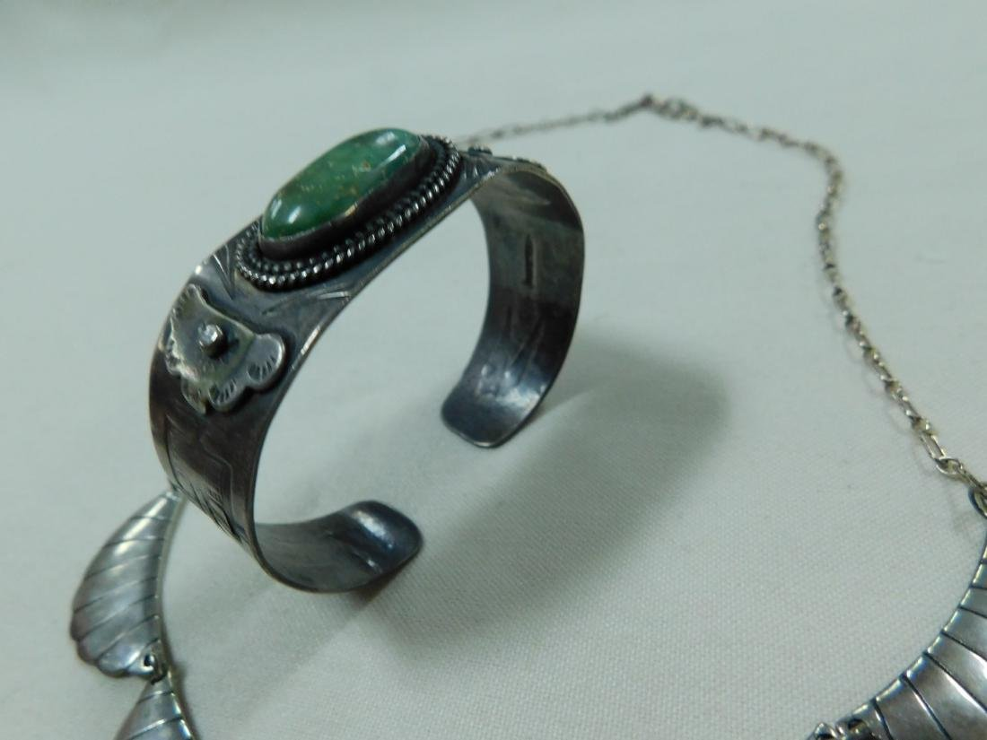 925 SILVER AND TURQUOISE NECKLACE AND CUFF BRACELE - 5