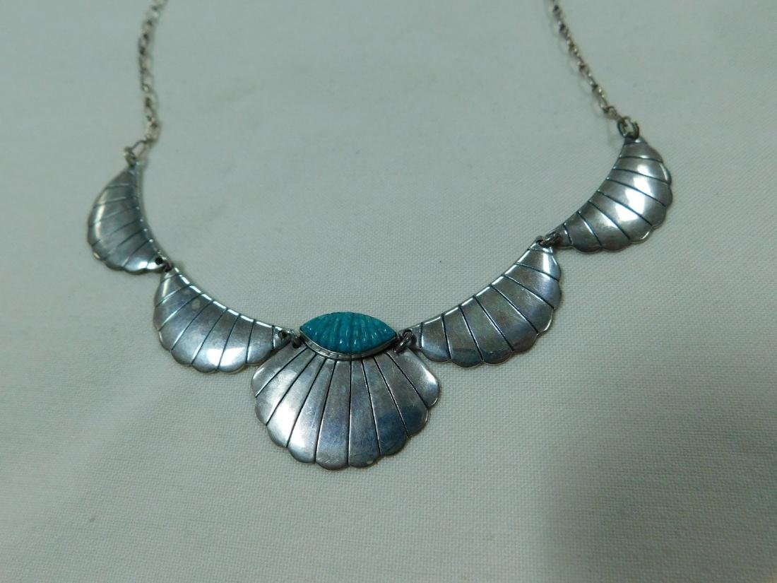 925 SILVER AND TURQUOISE NECKLACE AND CUFF BRACELE - 6