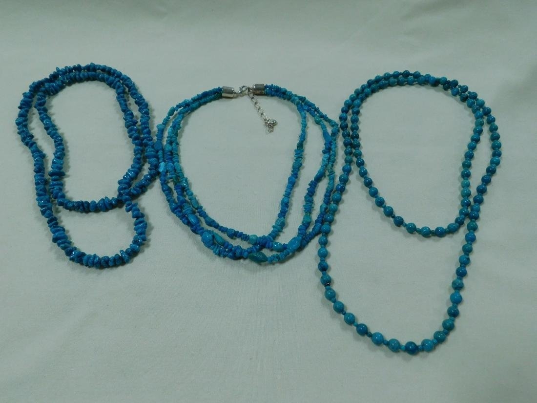 925 AND TURQUOISE BEAD NECKLACES
