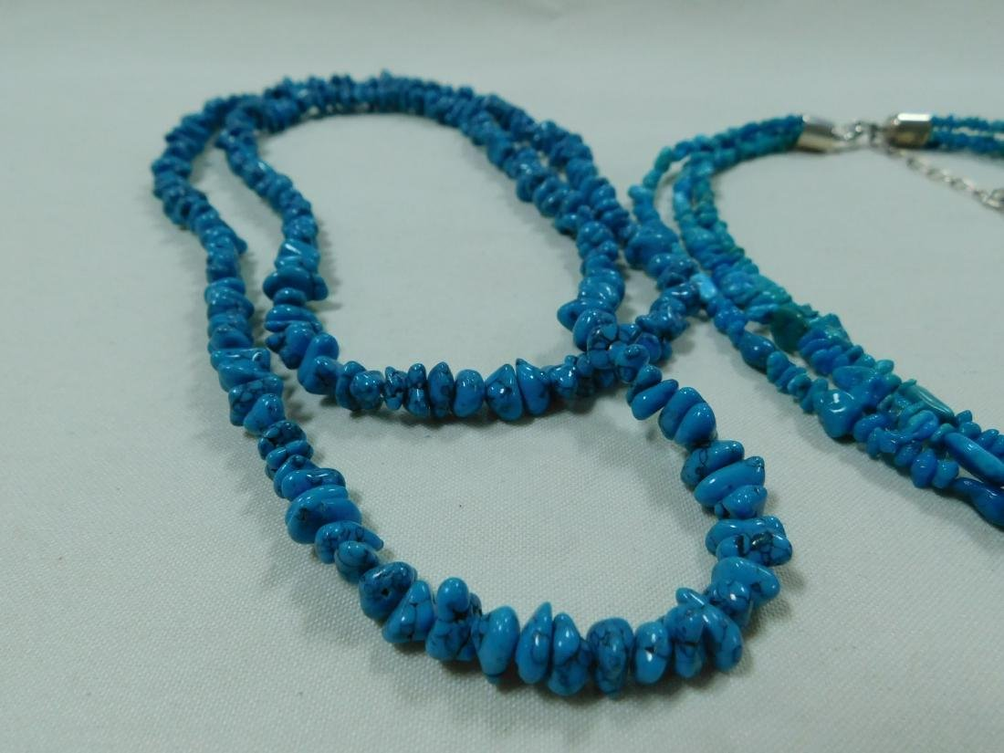 925 AND TURQUOISE BEAD NECKLACES - 2