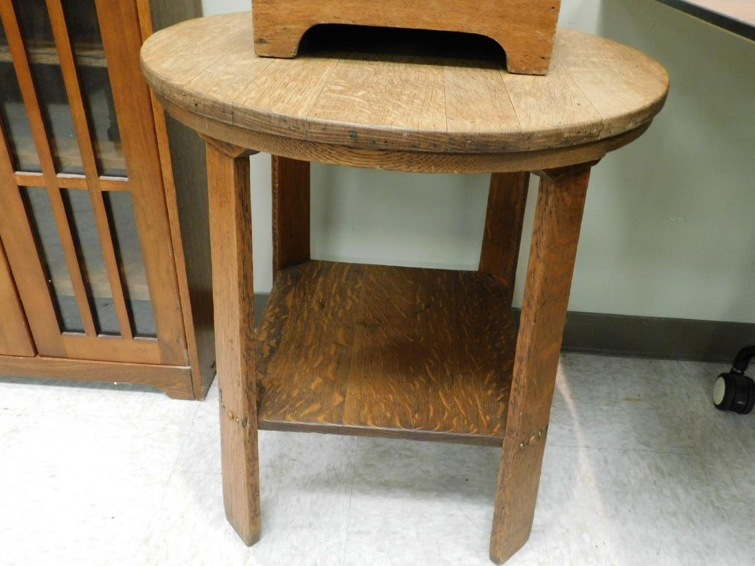 CRAFTSMAN STYLE SIDE TABLE AND A VINTAGE COAL CABI - 4
