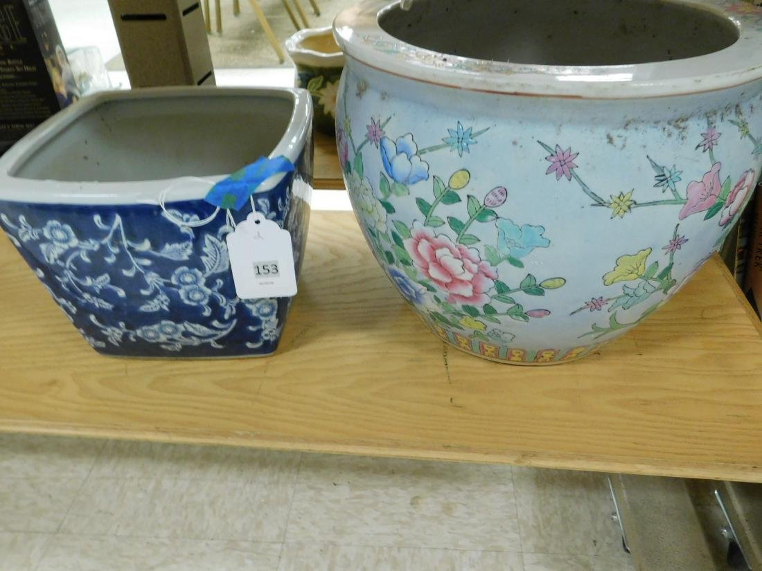 TWO ASIAN STYLE POTTERY FLOWER POTS