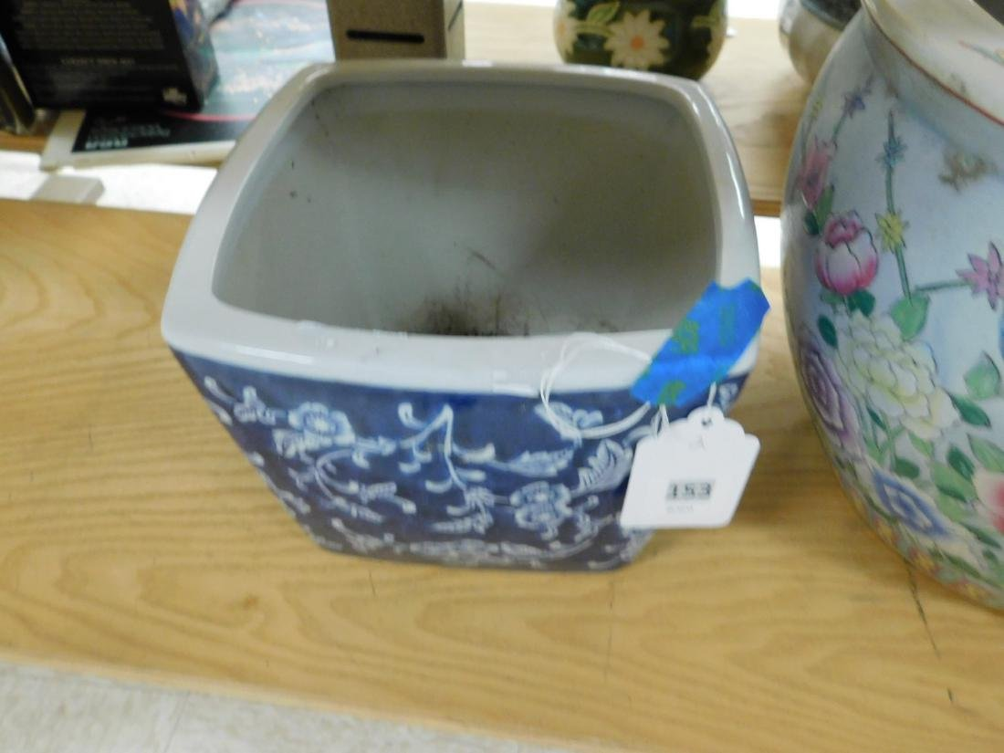 TWO ASIAN STYLE POTTERY FLOWER POTS - 2