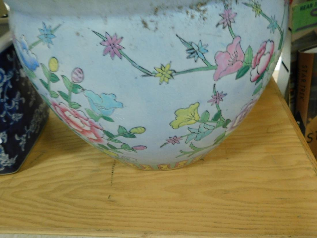 TWO ASIAN STYLE POTTERY FLOWER POTS - 3