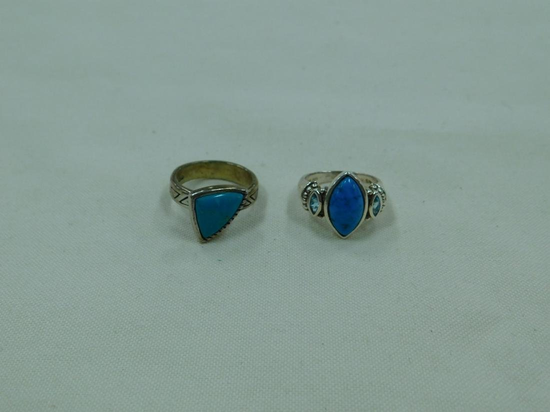 2 925 SILVER AND TURQUOISE RINGS