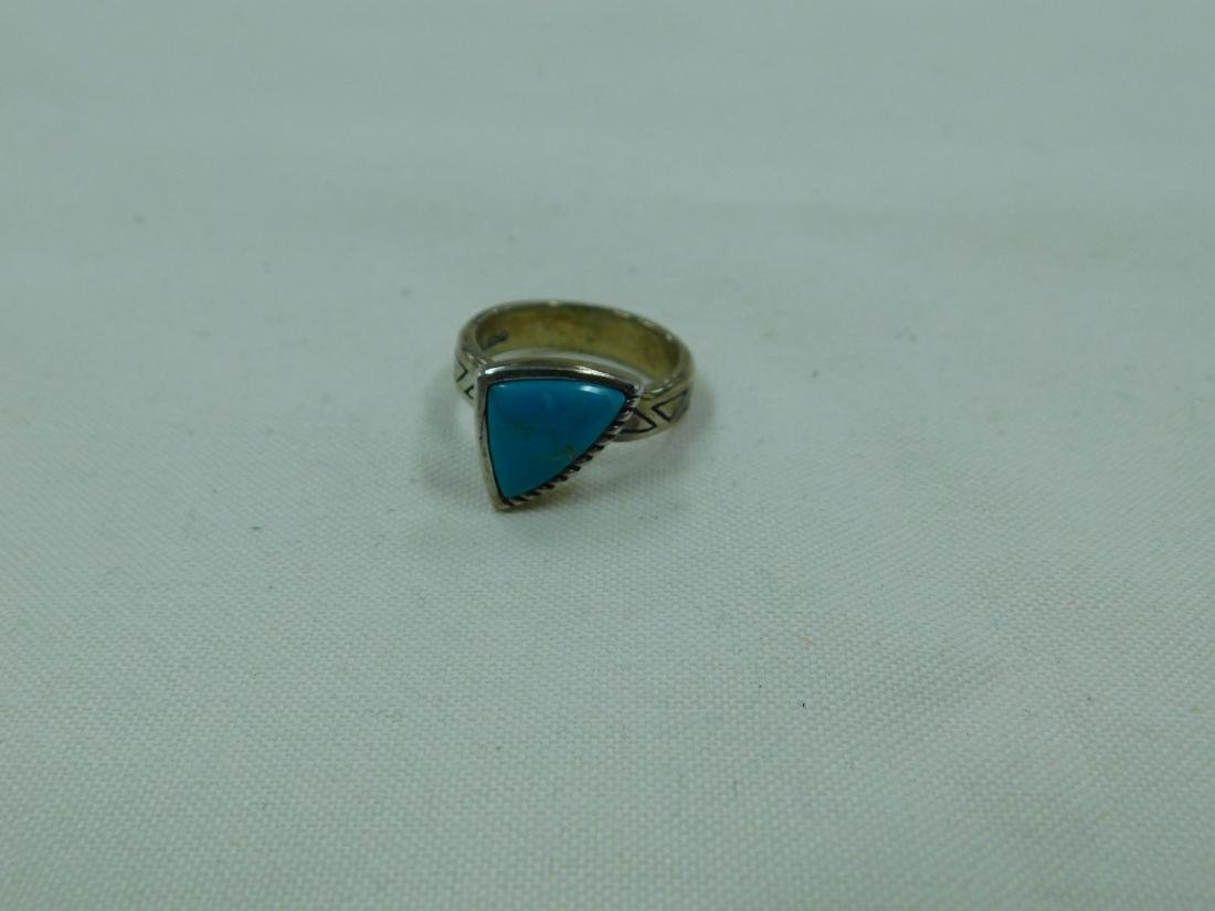 2 925 SILVER AND TURQUOISE RINGS - 2
