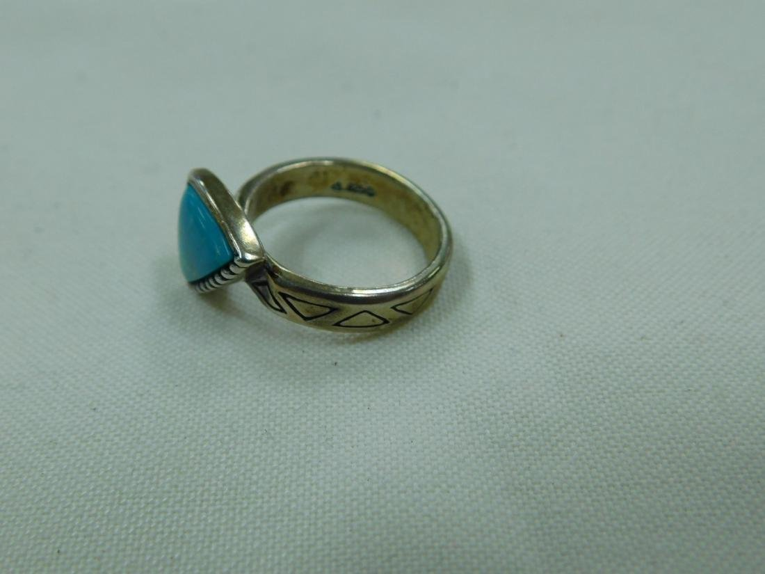 2 925 SILVER AND TURQUOISE RINGS - 3