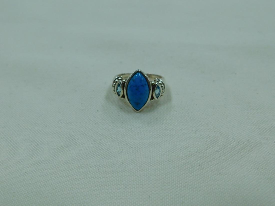 2 925 SILVER AND TURQUOISE RINGS - 4