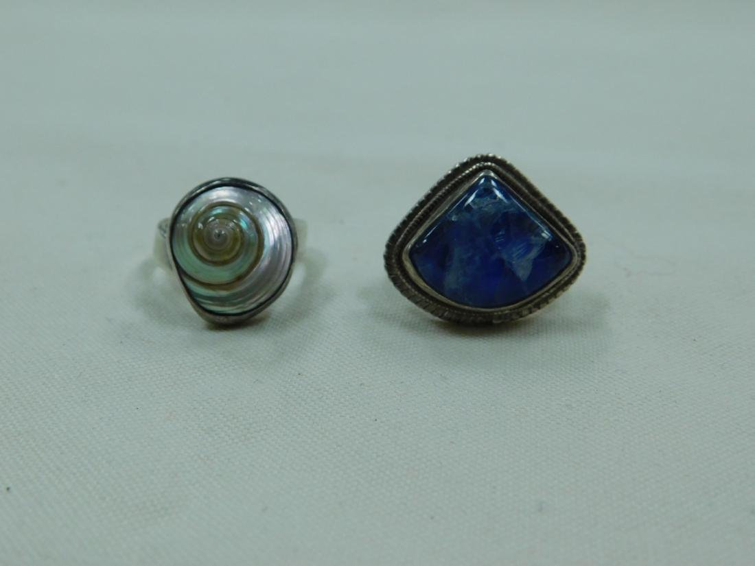 925 SILVER RING AND A SILVER AND BLUE STONE RING