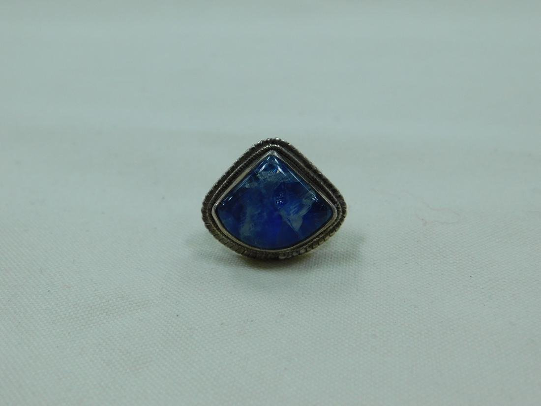 925 SILVER RING AND A SILVER AND BLUE STONE RING - 2