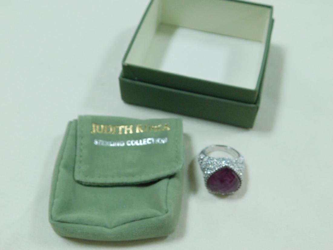 JUDITH RIPKA 925 SILVER AND RUBY LIKE HEART RING