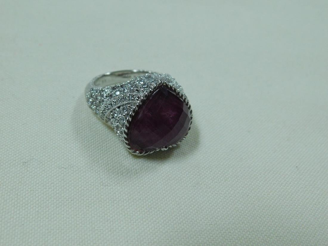 JUDITH RIPKA 925 SILVER AND RUBY LIKE HEART RING - 2