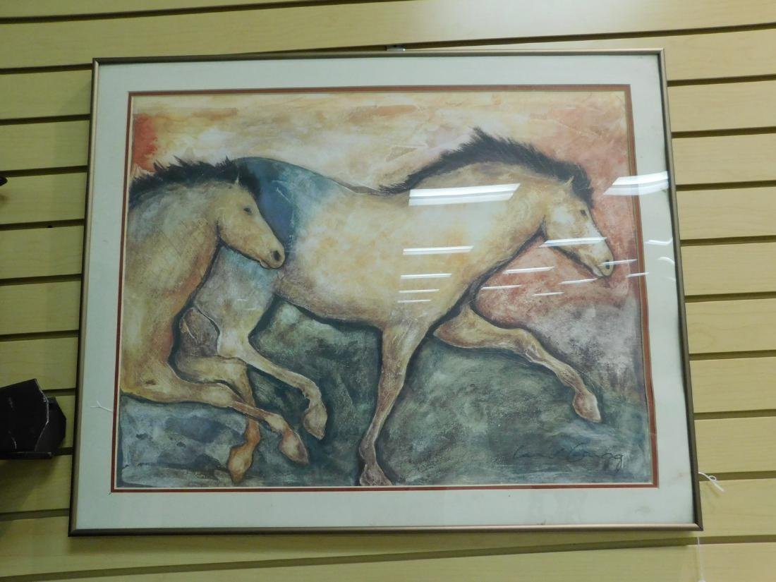CONTEMPORARY NATIVE AMERICAN TYPE PRINT OF HORSES