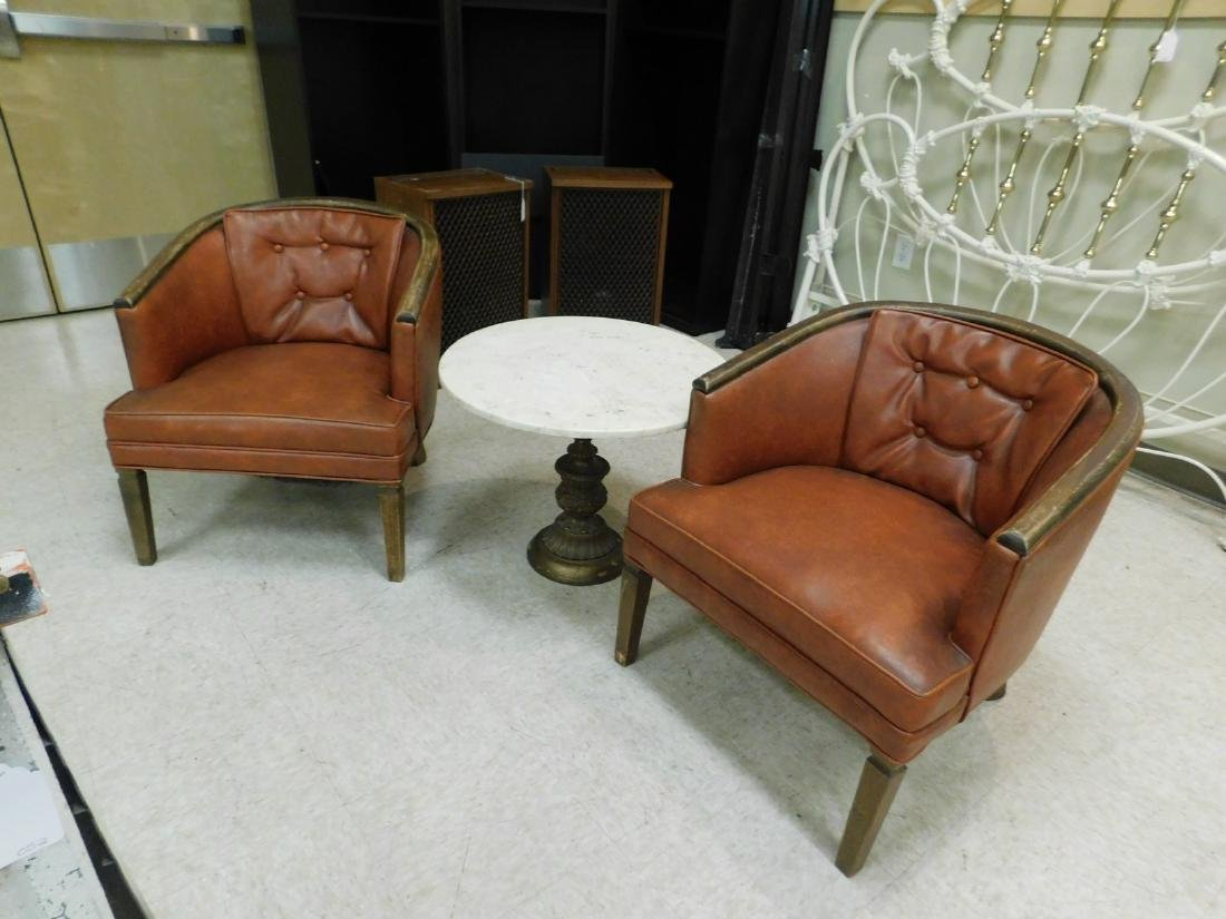 PAIR OF WOOD FRAMED CURVED BACK CHAIRS WITH VINYL