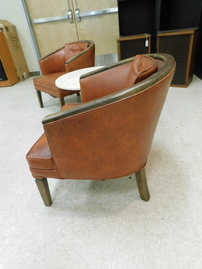 PAIR OF WOOD FRAMED CURVED BACK CHAIRS WITH VINYL - 4