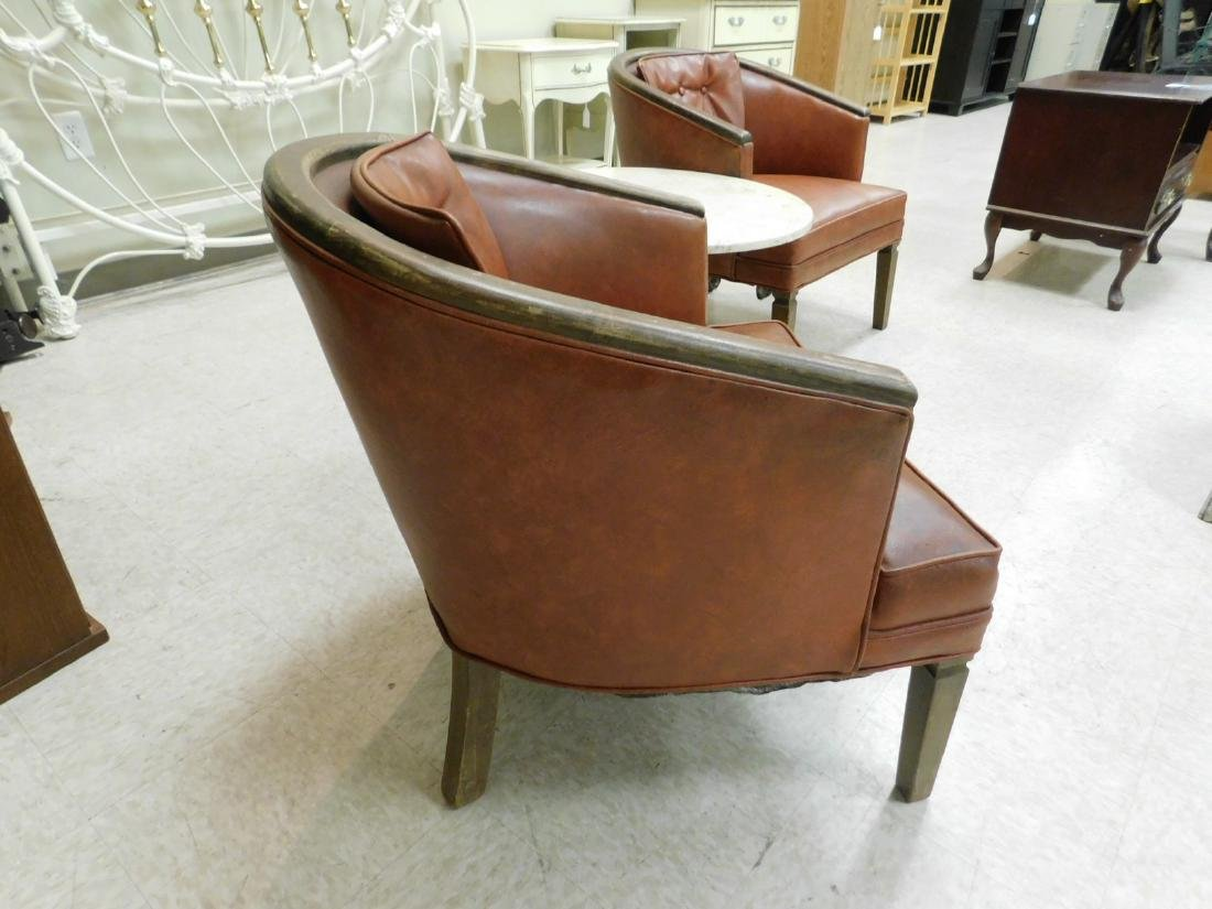 PAIR OF WOOD FRAMED CURVED BACK CHAIRS WITH VINYL - 6
