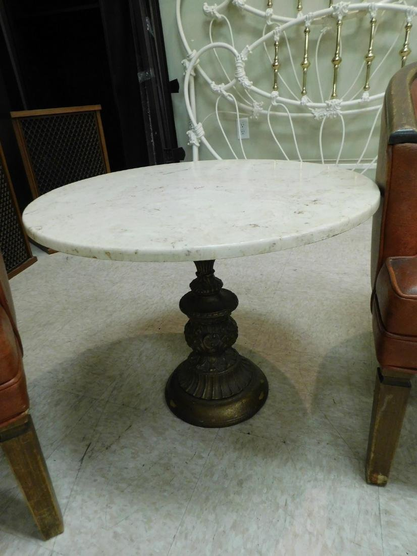 SMALL ROUMD MARBLE TOP OCCASIONAL TABLE