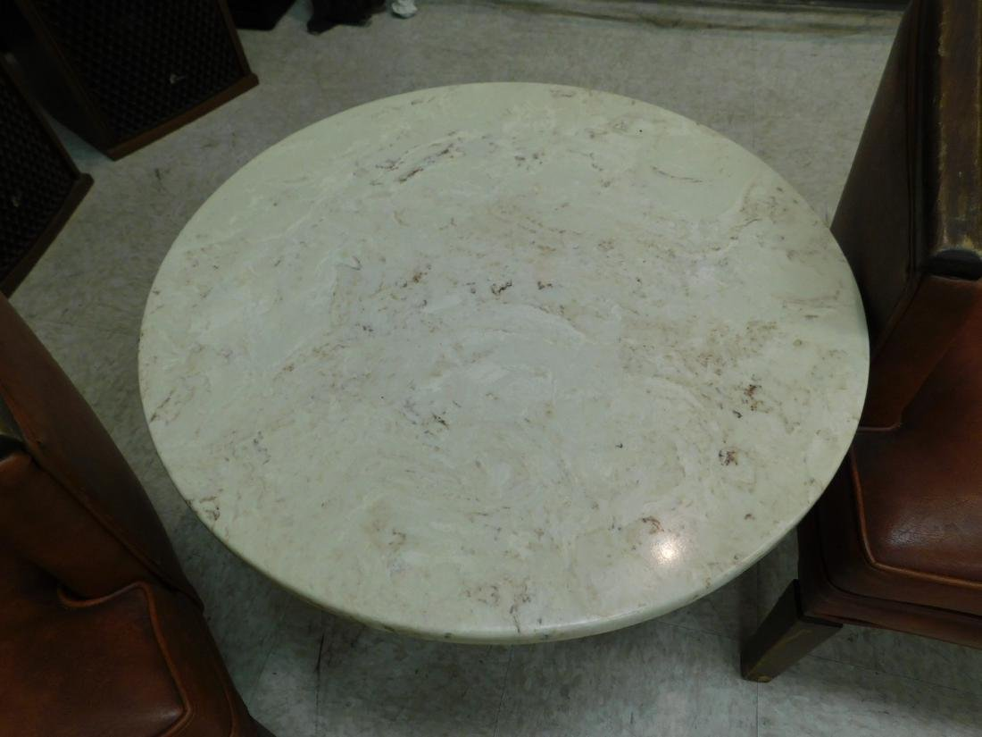 SMALL ROUMD MARBLE TOP OCCASIONAL TABLE - 2