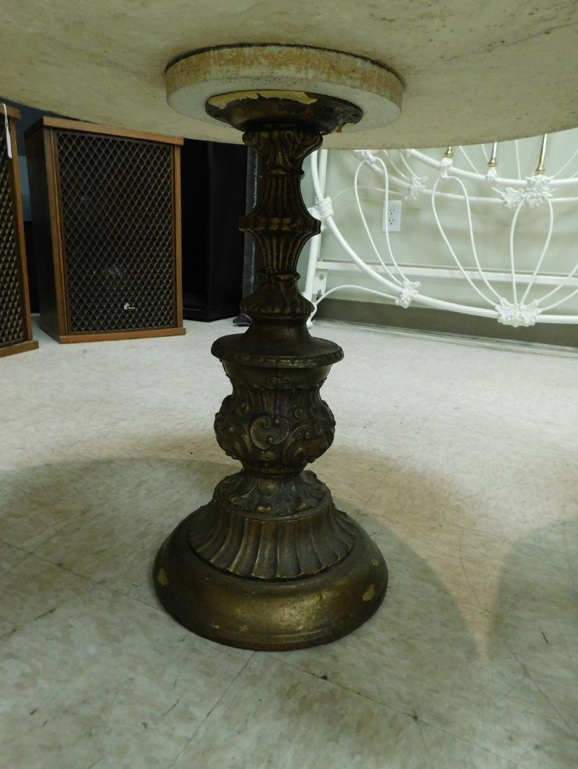 SMALL ROUMD MARBLE TOP OCCASIONAL TABLE - 3