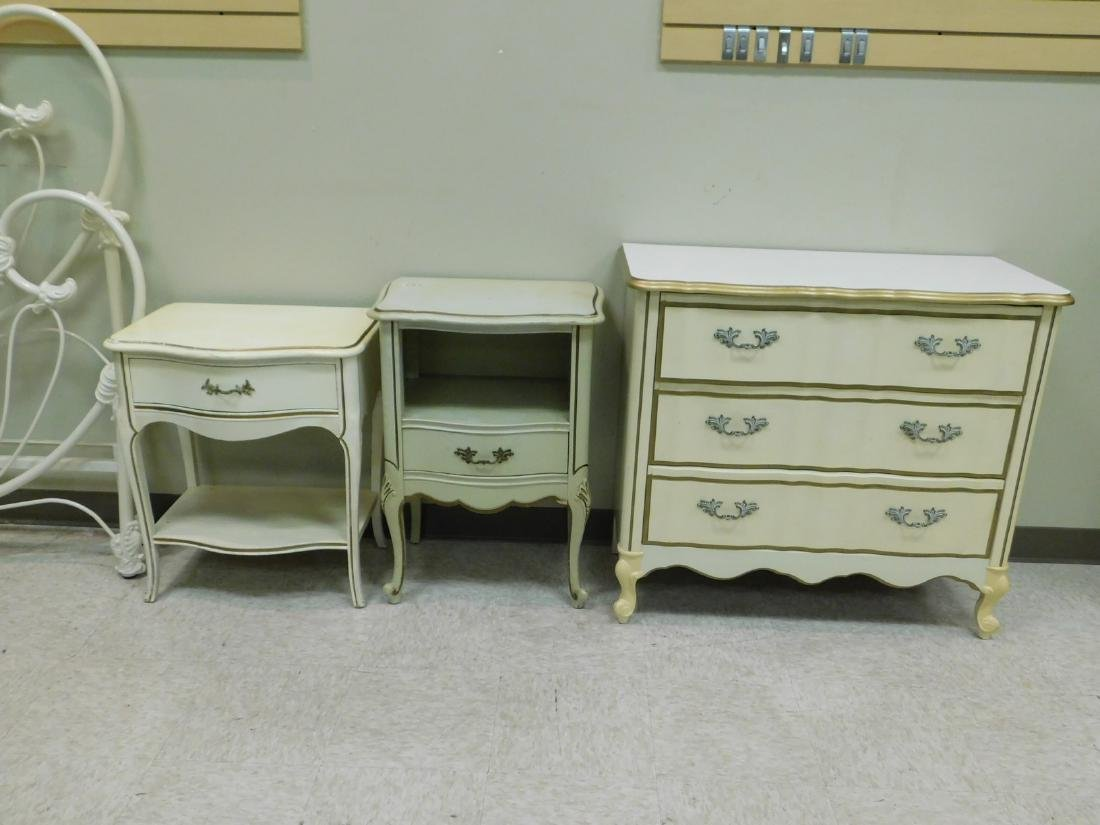 2 FRENCH PROVINCHIAL STYLE NIGHT STANDS AND A 3 DR