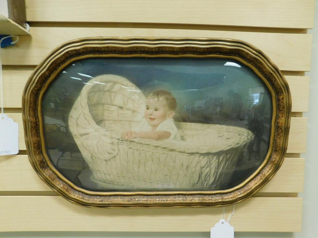 VINTAGE FRAMED COLOR TINTED BABY PHOOTOGRAPH
