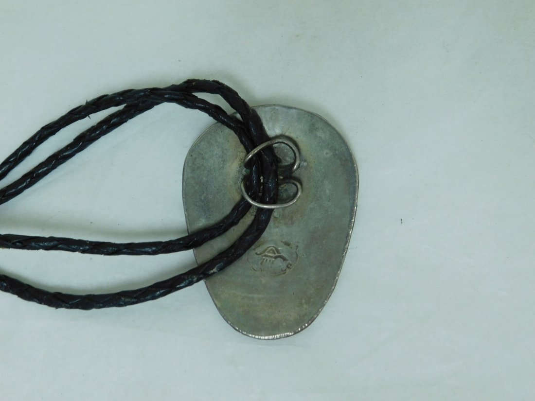 MEXICO SILVER BOLO TIE WITH ABALONE INLAY - 2
