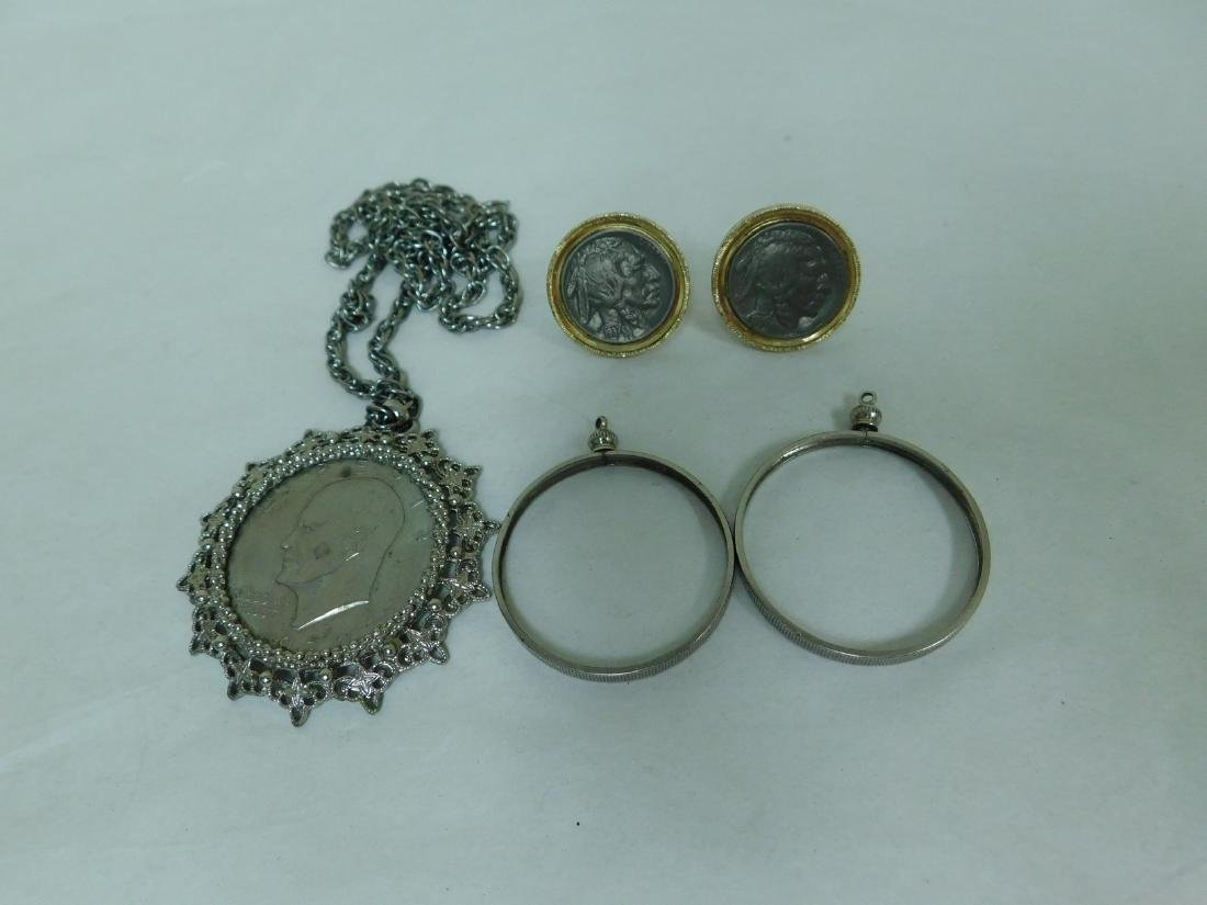 MIXED COIN LOT-COIN CUFF LINKS-HOLDERS & NECKLACE