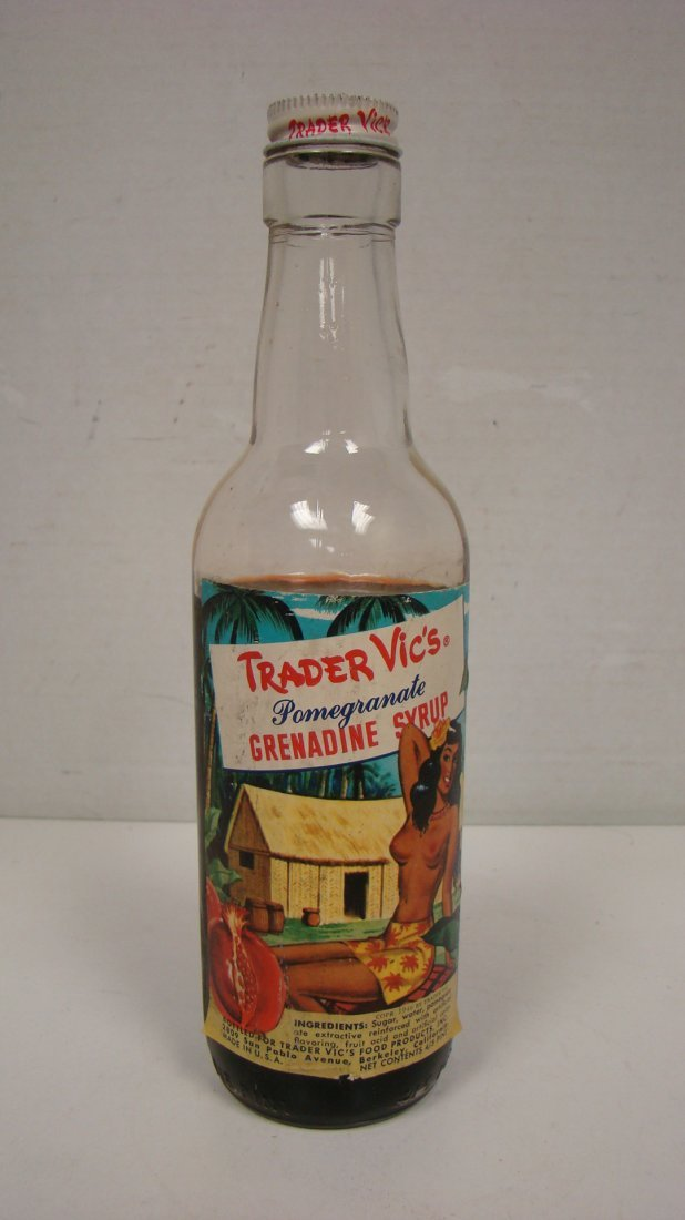 VINTAGE TRADER VIC'S 4/5 PINT GRENADINE BOTTLE - 2