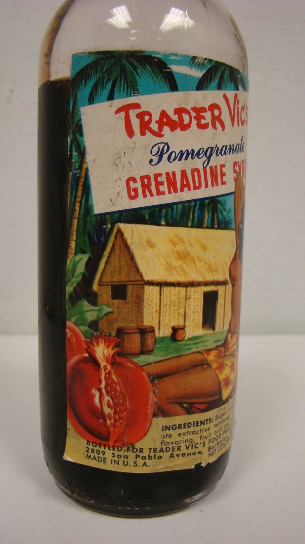 VINTAGE TRADER VIC'S 4/5 PINT GRENADINE BOTTLE - 5