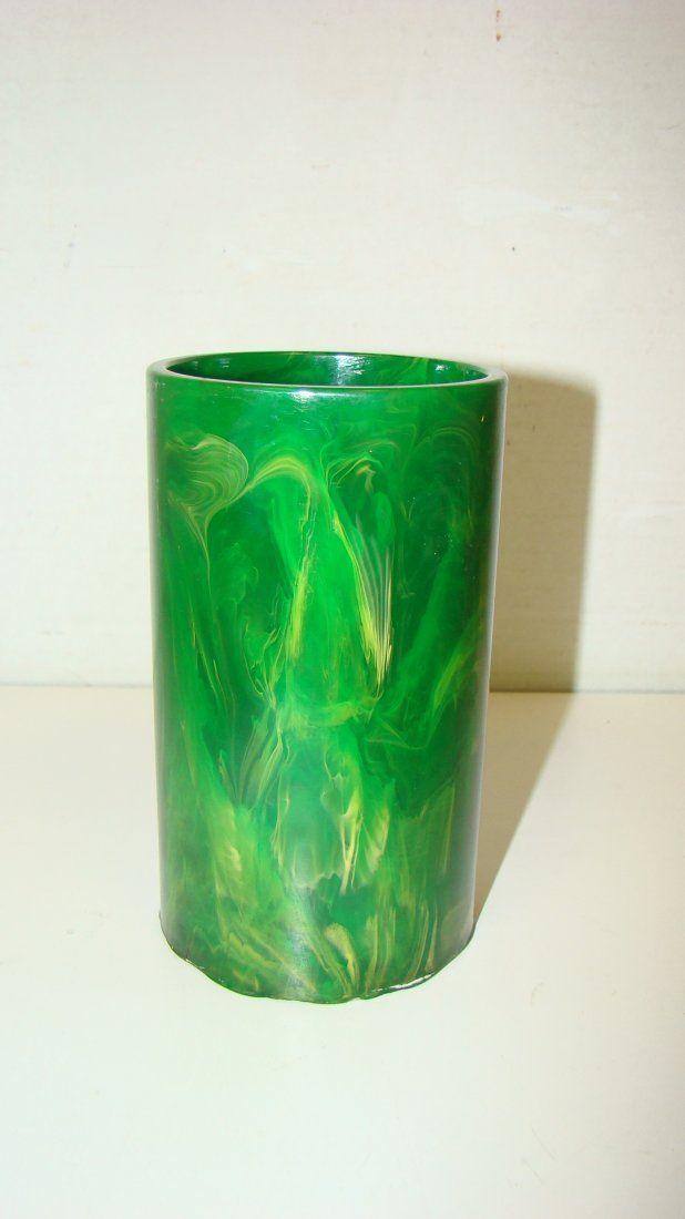 5'' MARBLED GREEN BAKELITE PENCIL CUP