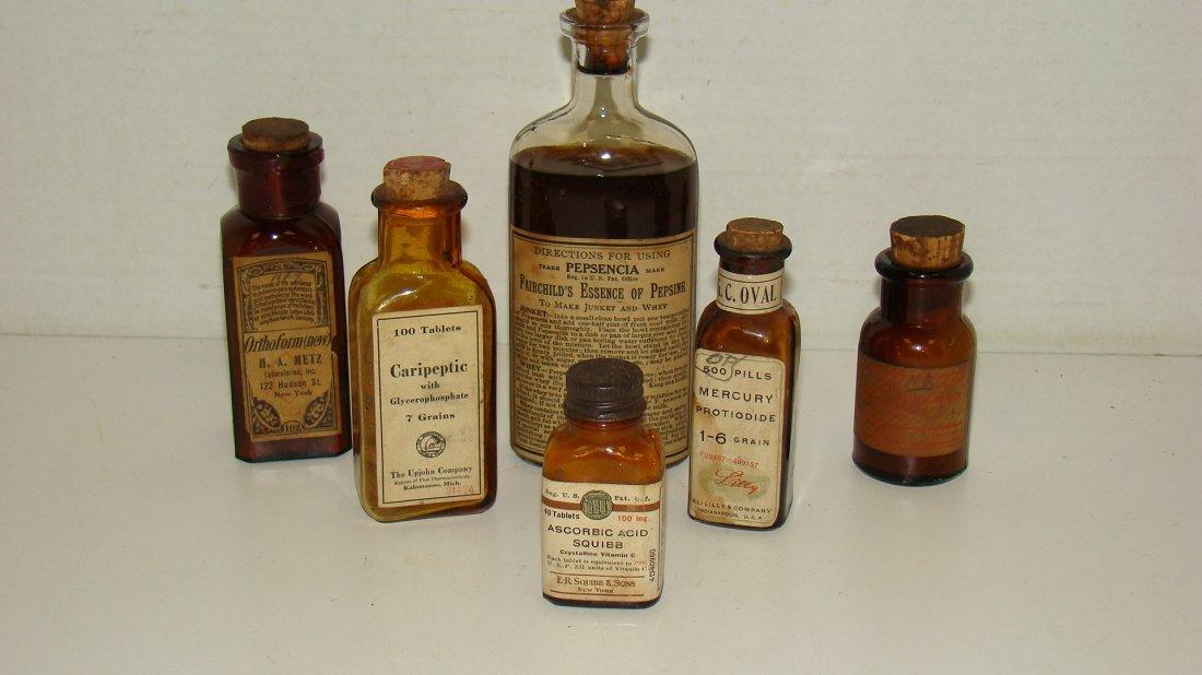 6 VARIOUS VINTAGE MEDICINE BOTTLES