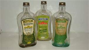 3 EMBOSSED MIFFLIN GLASS BOTTLES